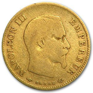 1854-1868 Gold France 10 Franc - Average Circulated