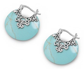Silver Bali Earrings With Turquoise Stone