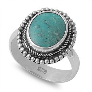 Silver Ring With Turquoise Stone - Size 7
