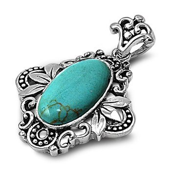 Silver Pendant With Turquoise Stone