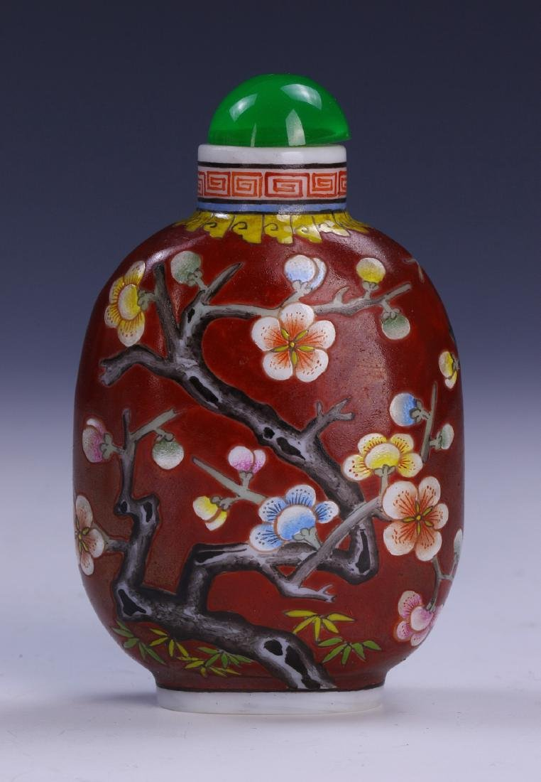 A CHINESE ANTIQUE PEKING GLASS SNUFF BOTTLE - 2