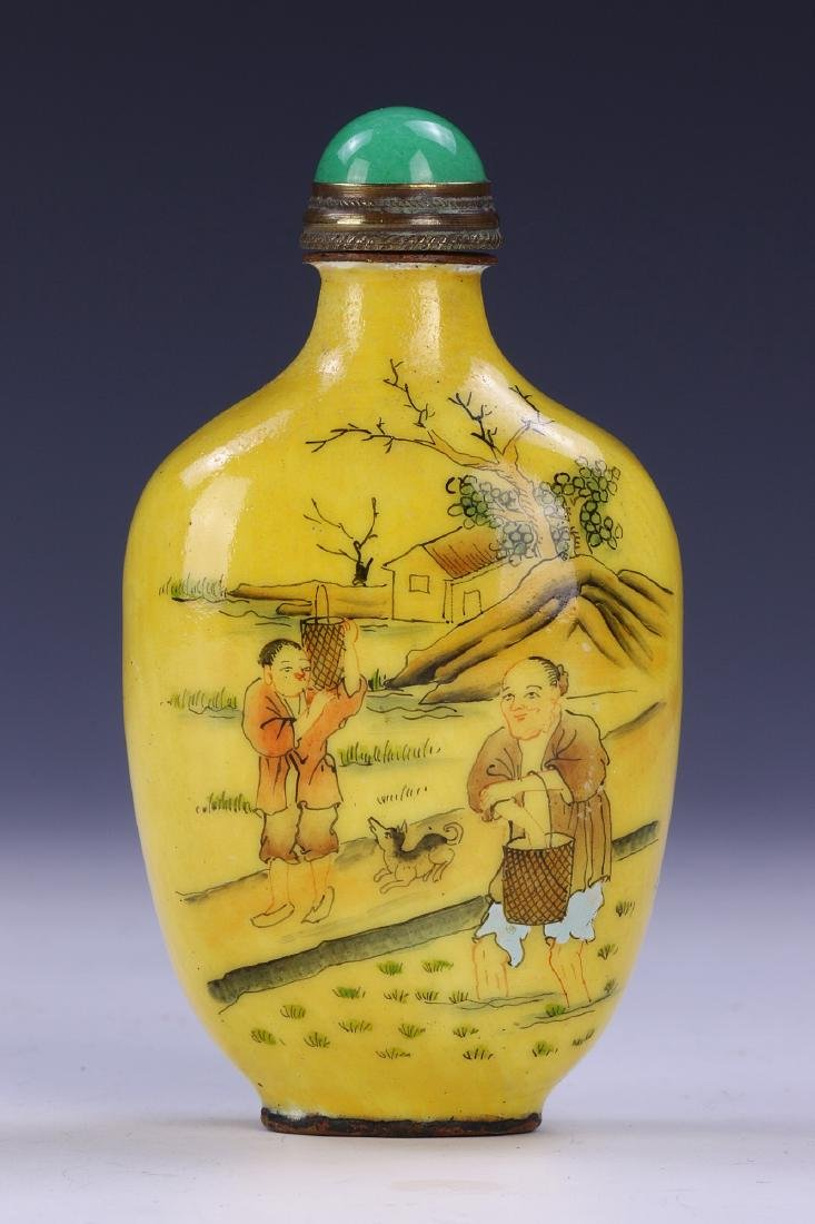 A CHINESE ANTIQUE CLOISONNE ON BRONZE SNUFF BOTTLE