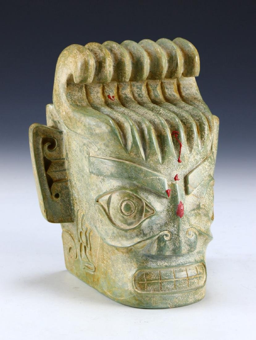 AN UNUSUAL CLOUDY GREY OPAQUE ARCHAIC JADE CARVING