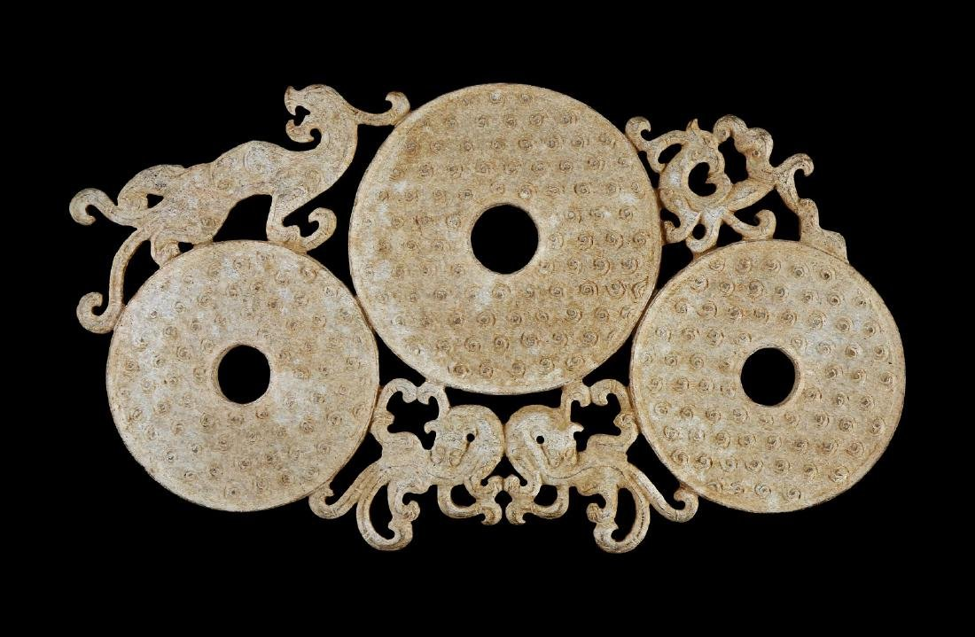 A CHINESE ANTIQUE ARCHAIC JADE CHI DRAGON BI