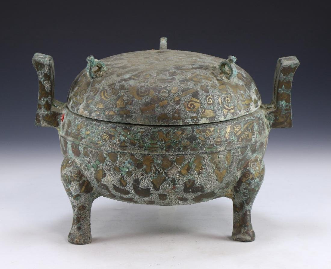 A CHINESE ANTIQUE GOLD & SILVER INLAID BRONZE VESSEL