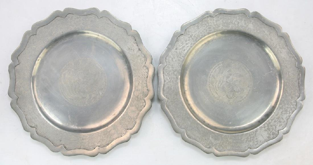 PAIR CHINESE ANTIQUE PEWTER PLATES