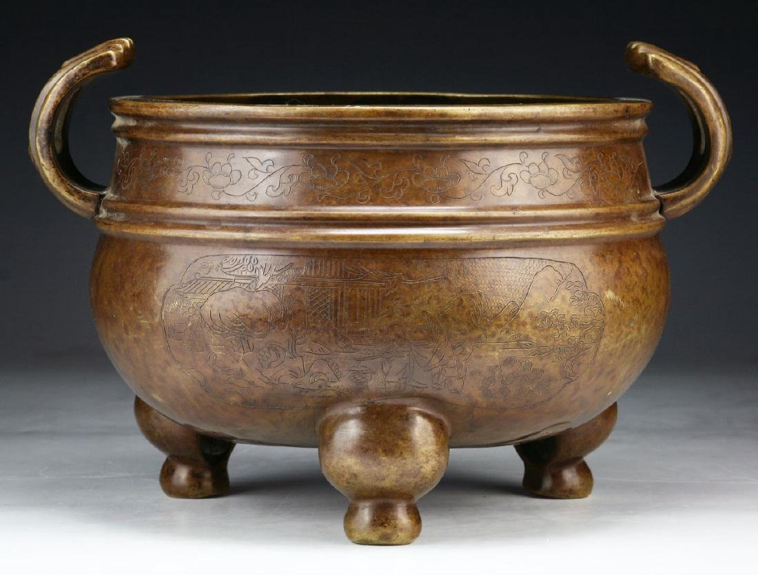 A CHINESE ANTIQUE SIGNED TRIPOD BRONZE CENSER