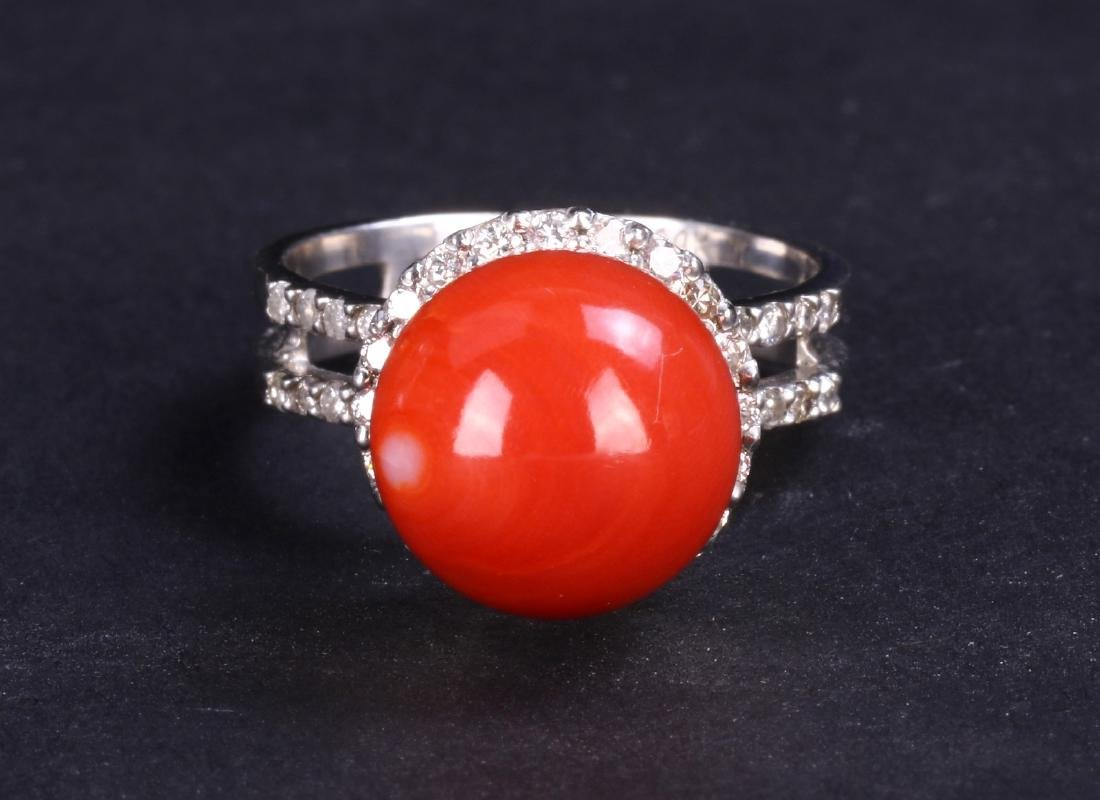AN AKA RED CORAL & DIAMOND RING, 14K WHITE GOLD