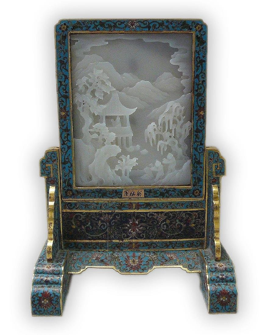 A CHINESE ANTIQUE JADE & CLOISONNE ON BRONZE