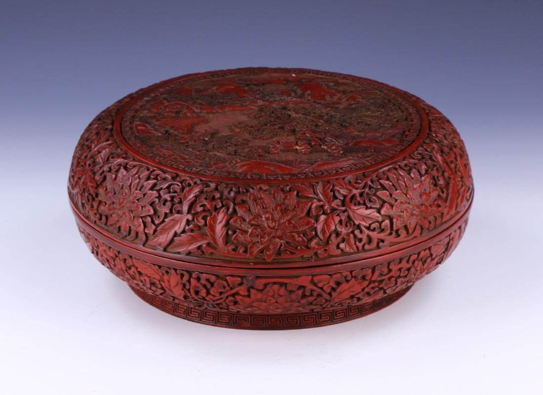 A WELL-CARVED CHINESE ANTIQUE CINNABAR LACQUER BOX AND