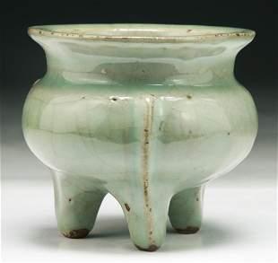 A Chinese Antique Celadon Glazed Tripod Censer