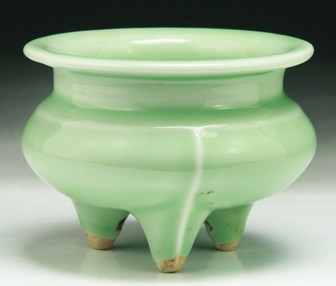 A Chinese Antique Celadon Glazed Tripod Censer