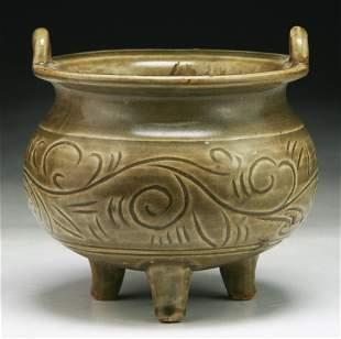 A Chinese Antique Celadon Glazed Tri-Pod Censer