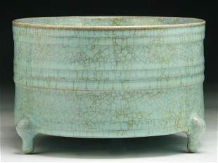 A Chinese Antique Celadon Glazed Tri-Pod Xi