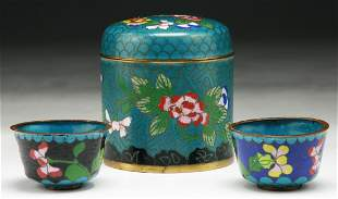 Three (3) Chinese Cloisonne Bronze Cups & Box