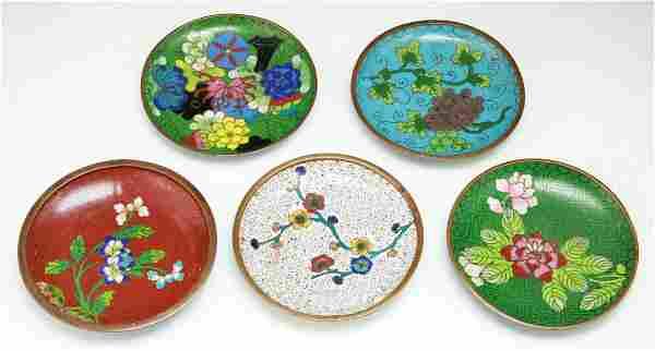 Five (5) Chinese Antique Cloisonne Bronze Plates