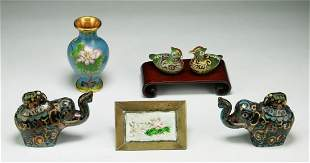 Six (6) Chinese Cloisonne On Bronze Items
