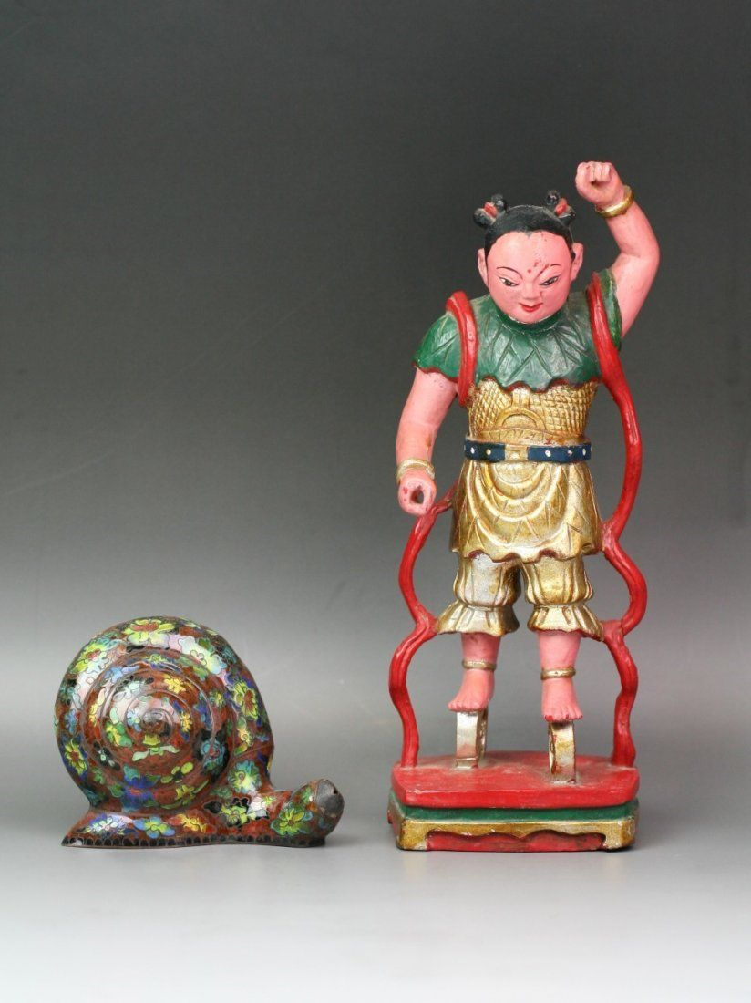 Two (2) Chinese Lacquer On Wood & Cloisonne On Bronze