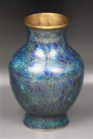 A Chinese Gilt Cloisonne On Bronze Vase
