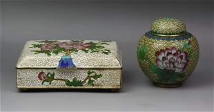 Two (2) Chinese Cloisonne On Bronze Box & Jar