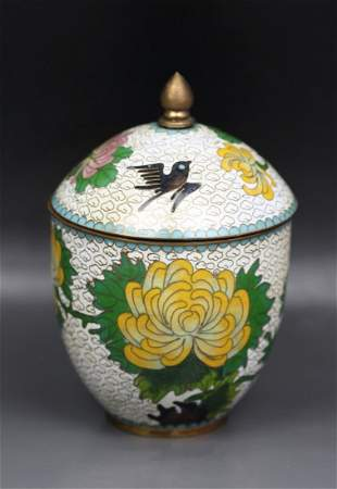 A Chinese Antique Cloisonne On Bronze Vase W Cover
