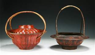 Two (2) Chinese Antique Wood Baskets