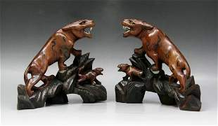 Pair Chinese Antique Wood Tigers