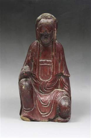 A Chinese Antique Carved Wood Guanyin