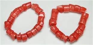Pair Red Coral Bracelets