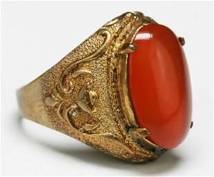 A Translucent Red Jade or Jadeite Ring