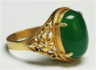 A Translucent Green Jade Or Jadeite Ring
