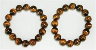 Pair Tiger Eye Bead Bracelets