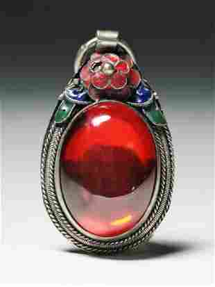 A Chinese Red Tourmaline Silver Pendant