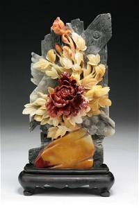 A Chinese Carved Shoushan Soapstone Group