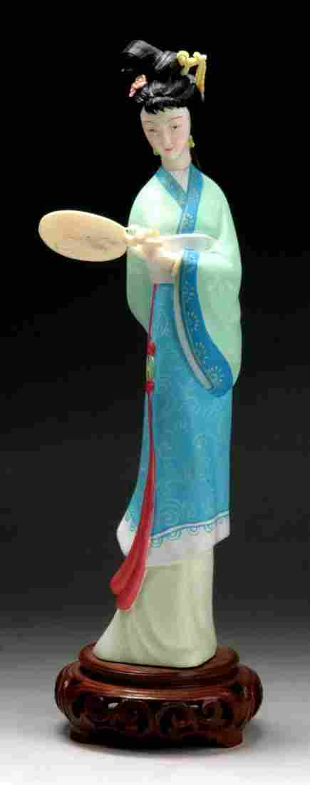 A Chinese Antique Polychrome Wood & Ivory Beauty