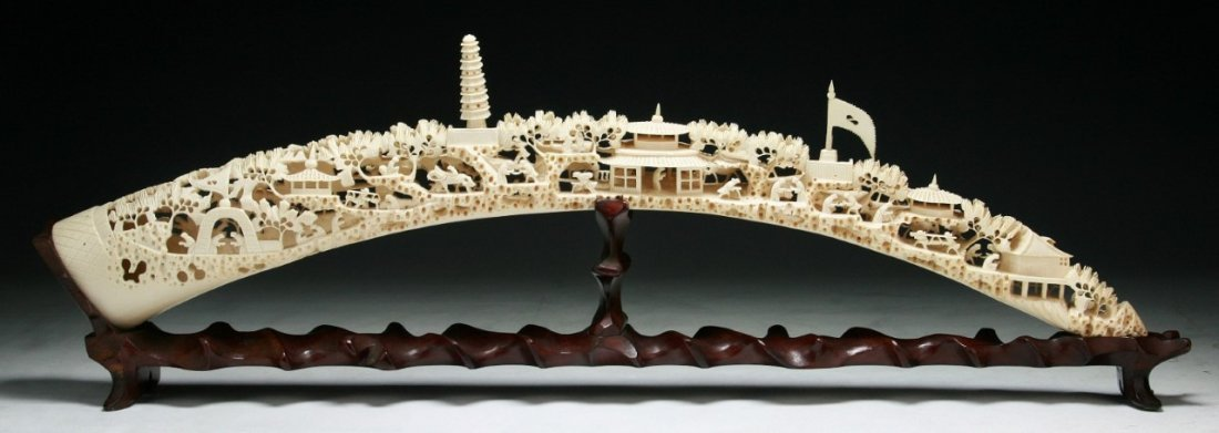 A Fine Chinese Antique Carved Ivory Bridge
