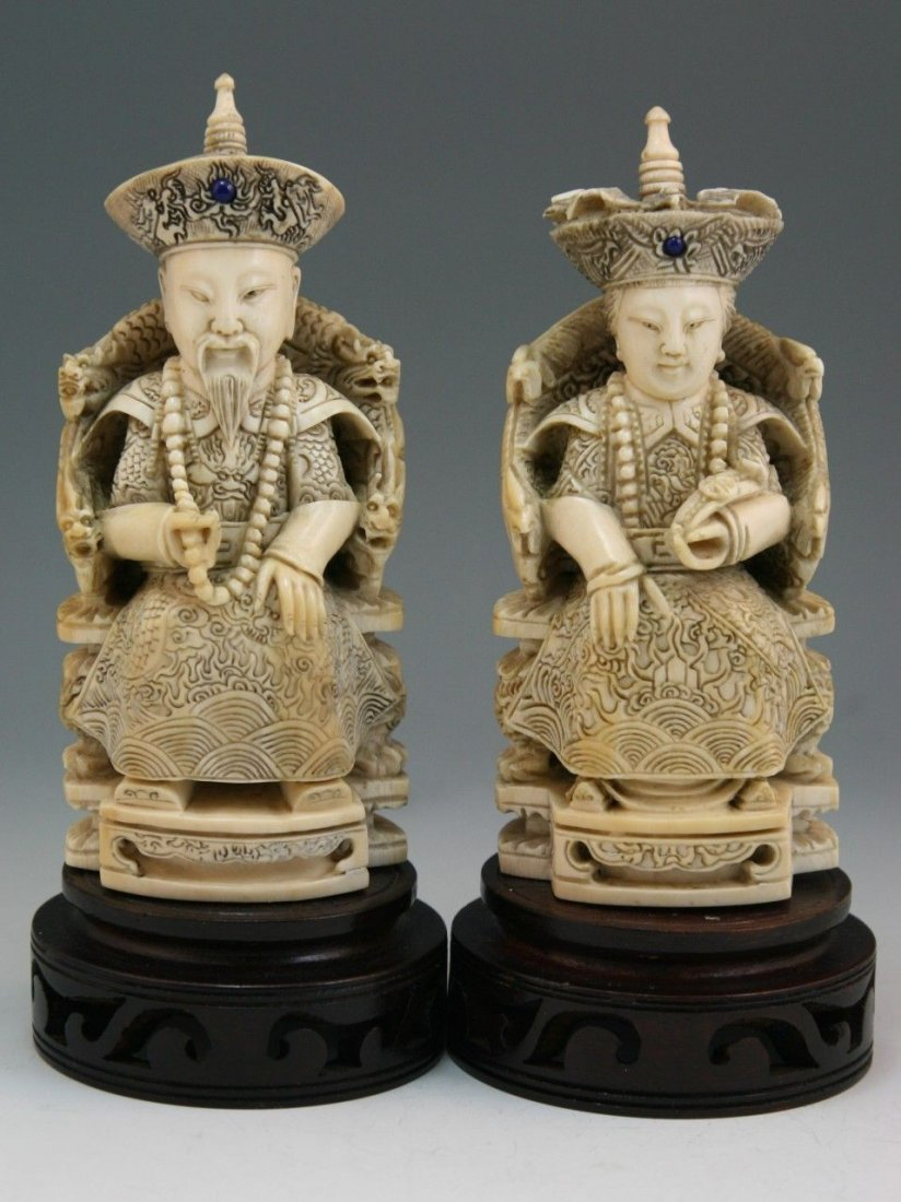 Carved Ivory Emperor & Empress