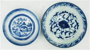 Two (2) Chinese Antique Blue & White Porcelain Plates