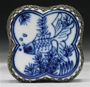 A Chinese Antique Silver Box With Porcelain Plaque