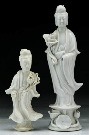 Two (2) Chinese Blanc De Chine Porcelain Figures