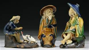 Three (3) Chinese Antique Famille Noire Porcelain