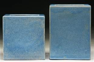 Two (2) Chinese Antique Blue Glazed Square Porcelain