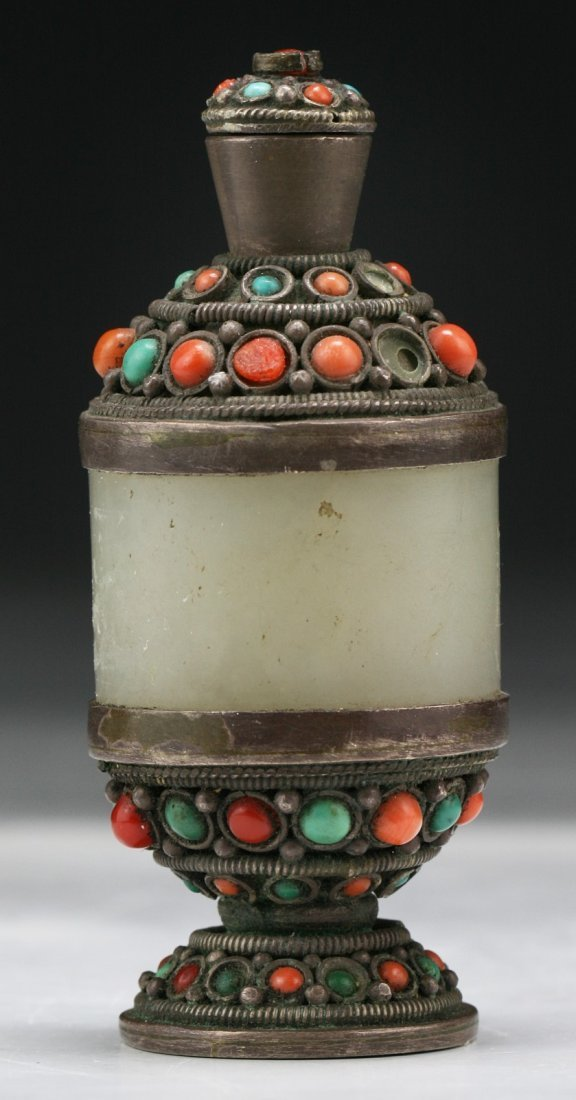 A Chinese Antique Jeweled Jade Silver Snuff Bottle