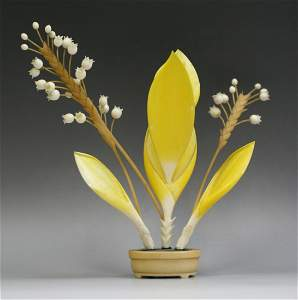 Polychrome Ivory Okimono; Flower And Branches