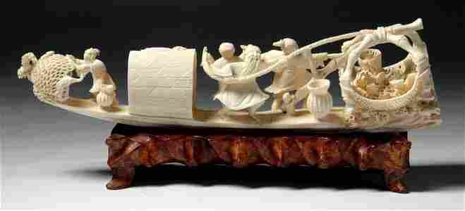 A Chinese Pierced Carved Ivory Bridge