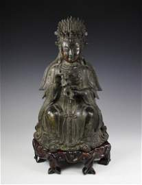 Large Chinese 17th C. Antique Bronze Maitreya On Stand