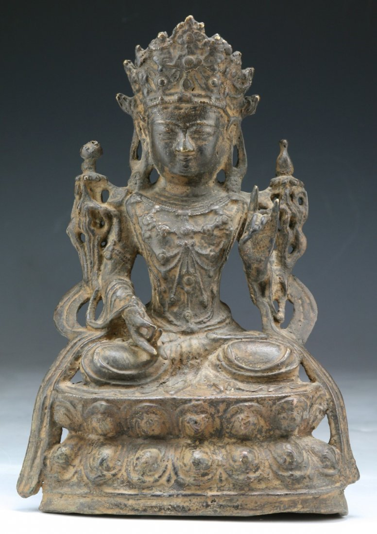 Chinese 17th C. Antique Bronze Guanyin