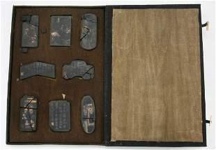 Set Of 8 Chinese 19th C. Gilt Black Inksticks In Case