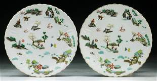 Pair Chinese Vintage Famille Rose Porcelain Plates