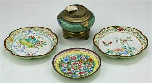 Lot Of 4 Chinese Cloisonne Bronze Bowls & Censer